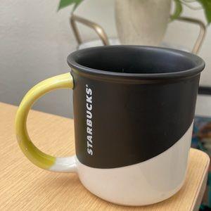 Starbucks black white and yellow mug